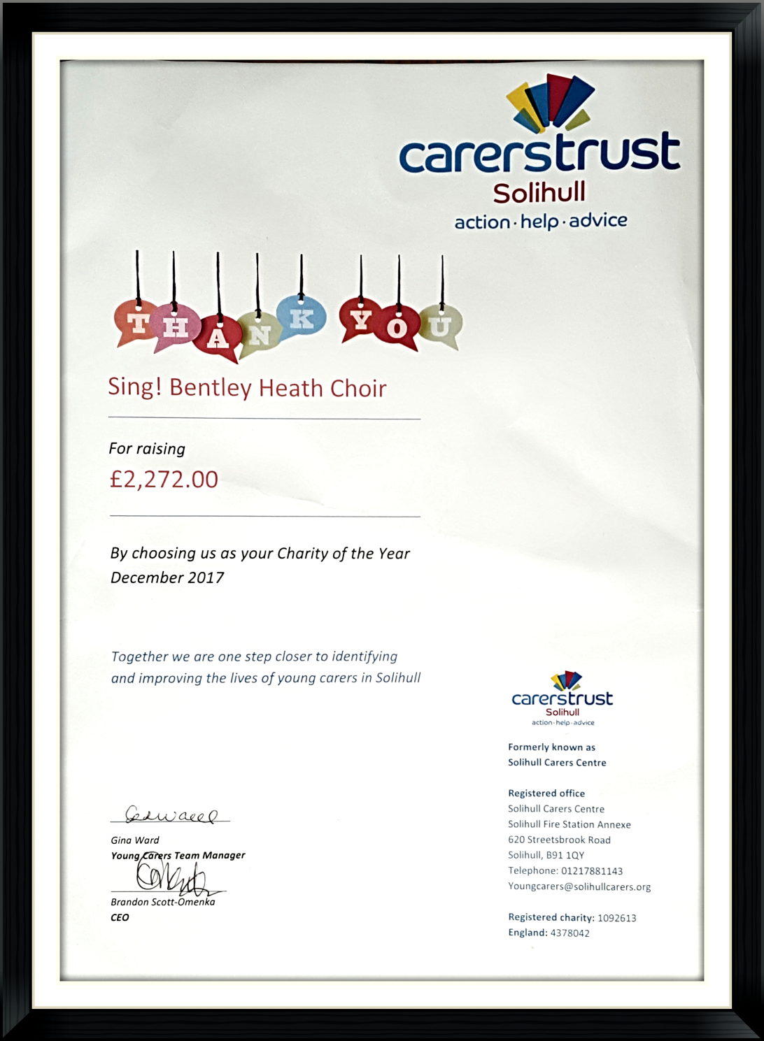 Thank You from Solihull Young Carers for our donation in 2017 - Sing ...